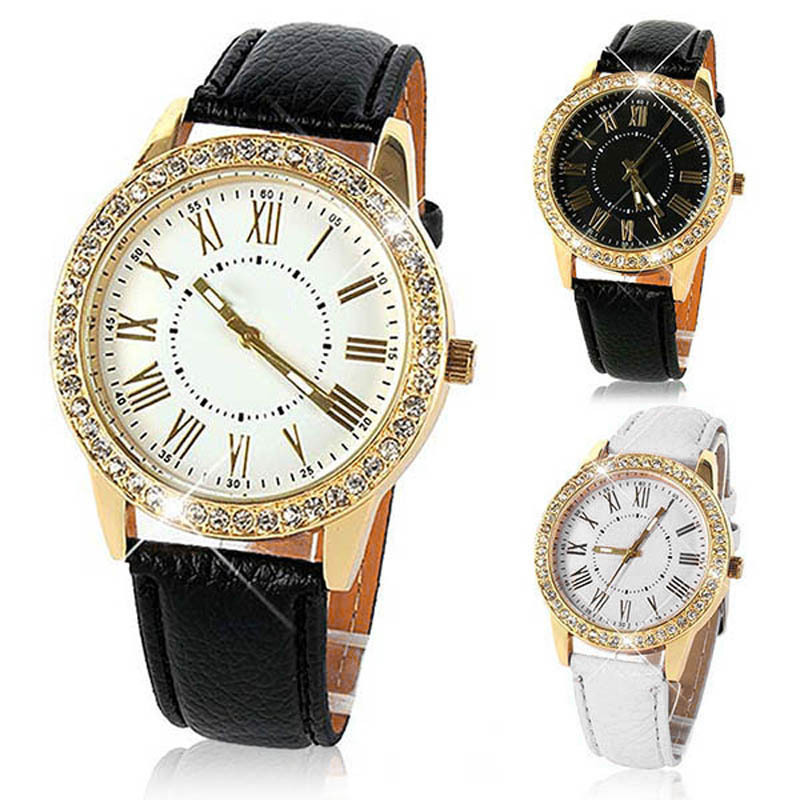 Relojes Mujer 2015 Relogio feminino Bling Gold Crystal Women Luxury Leather Strap Quartz Wrist Watch Feida