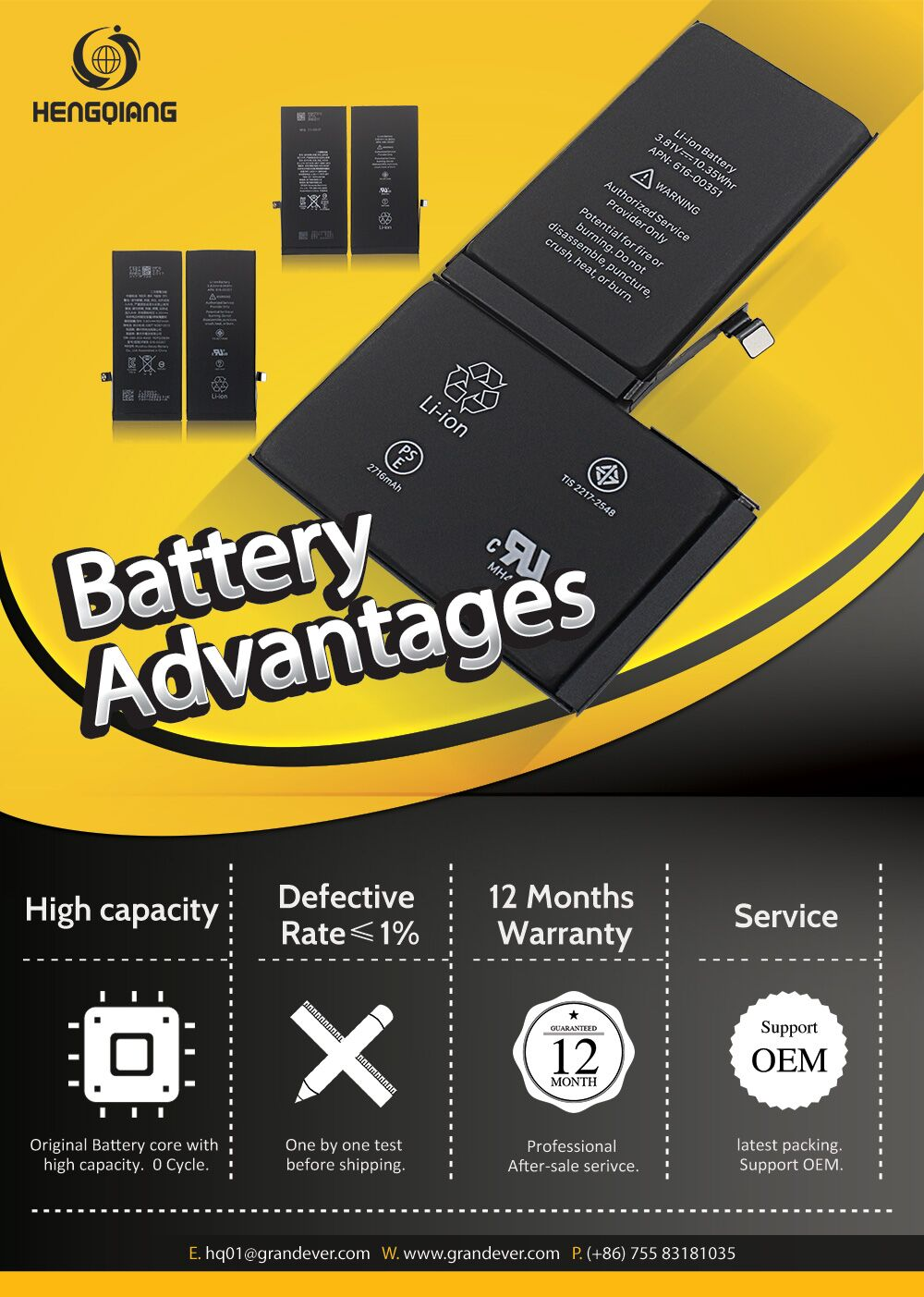 For iPhone 6S New Battery Replacement 1715mAh