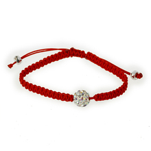 2016 fashion jewelry red woven bracelet with crystal ball charm