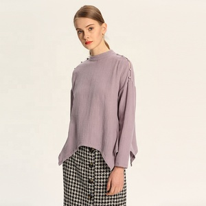 Spring elegant casual clothing tops chiffon women long sleeve blouse