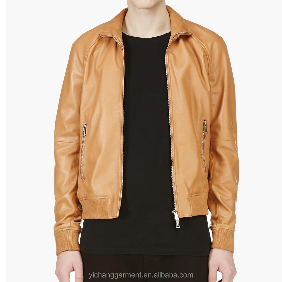 Men Brown Short Leather Jacket with Ribbing Bomber jacket