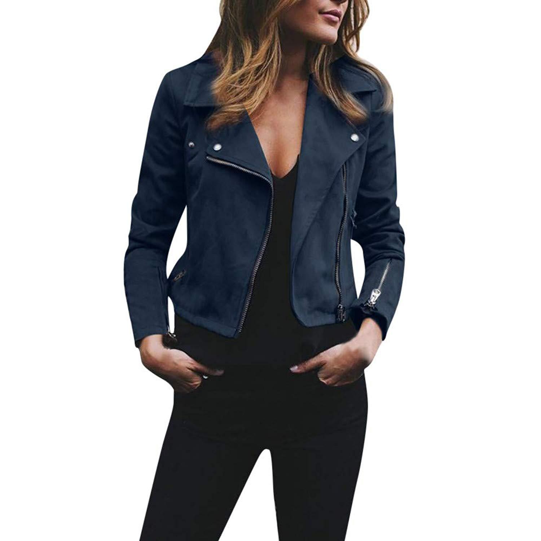 9015add0a67 Get Quotations · OCASHI Womens Vintage Rivet Long Sleeve Zipper Up Short Bomber  Jacket Casual Coat Outwear