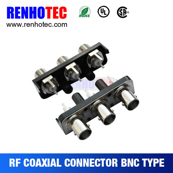 One row three bnc female connector 50 ohm splitter bnc