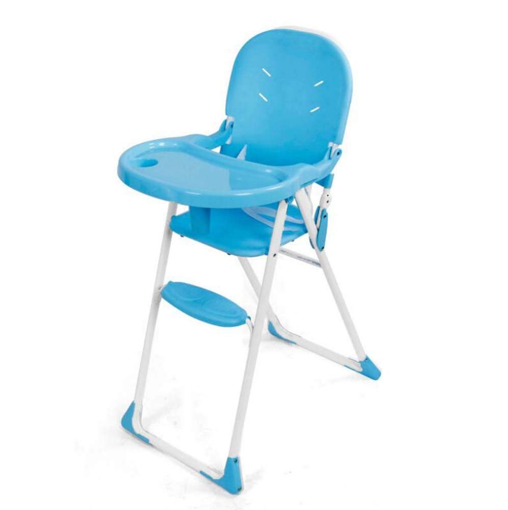 TTrar Portable Folding Chair Portable Baby Highchair,Foldable Contempo Highchair,Plastic Baby Dinette Chair,Removable Tray,Adjustment Height Convenient and Practical (Color : Blue)