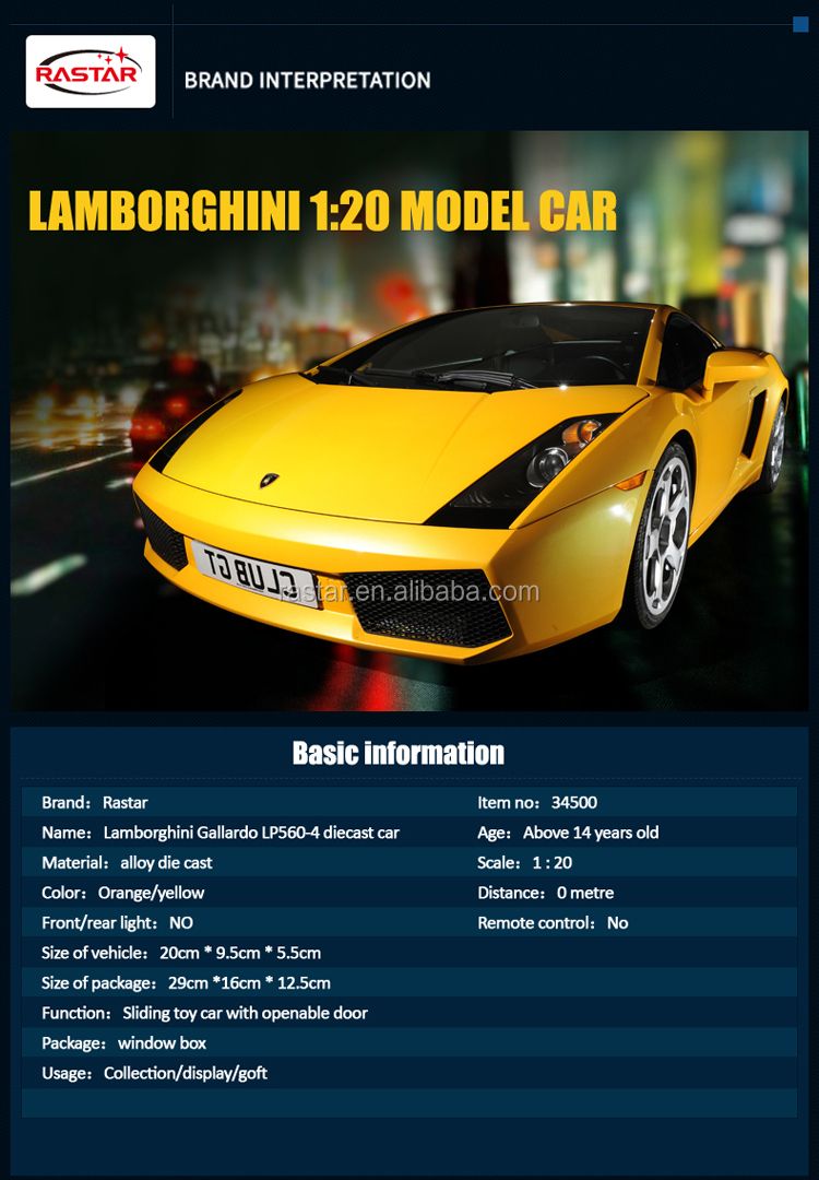RASTAR bright painting car toys Lamborghini diecast toy vehicles for collection