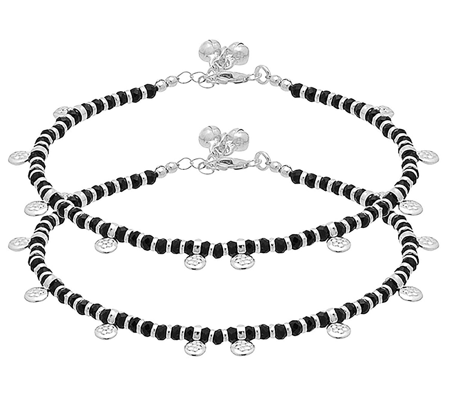 D&D Crafts Sterling Silver Black Beads Studded Anklets for Women, Girls