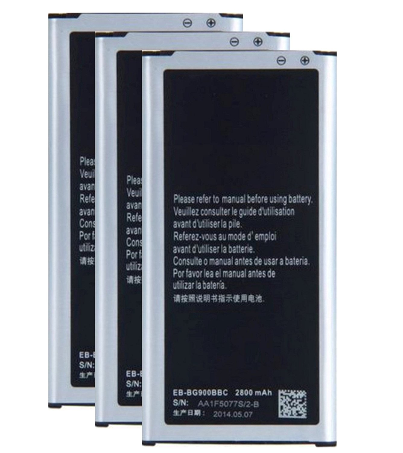 Cellstarr, New 3X 2800mAh Lithium-ion Rechargeable Replacement Batteries EB-BG900BBC for Samsung Galaxy S5 GT-i9600, SM-G900A, SM-G900V, SM-G900T, SM-G900P, SM-G900R4, SM-G900T1, S5 Active SM-G870