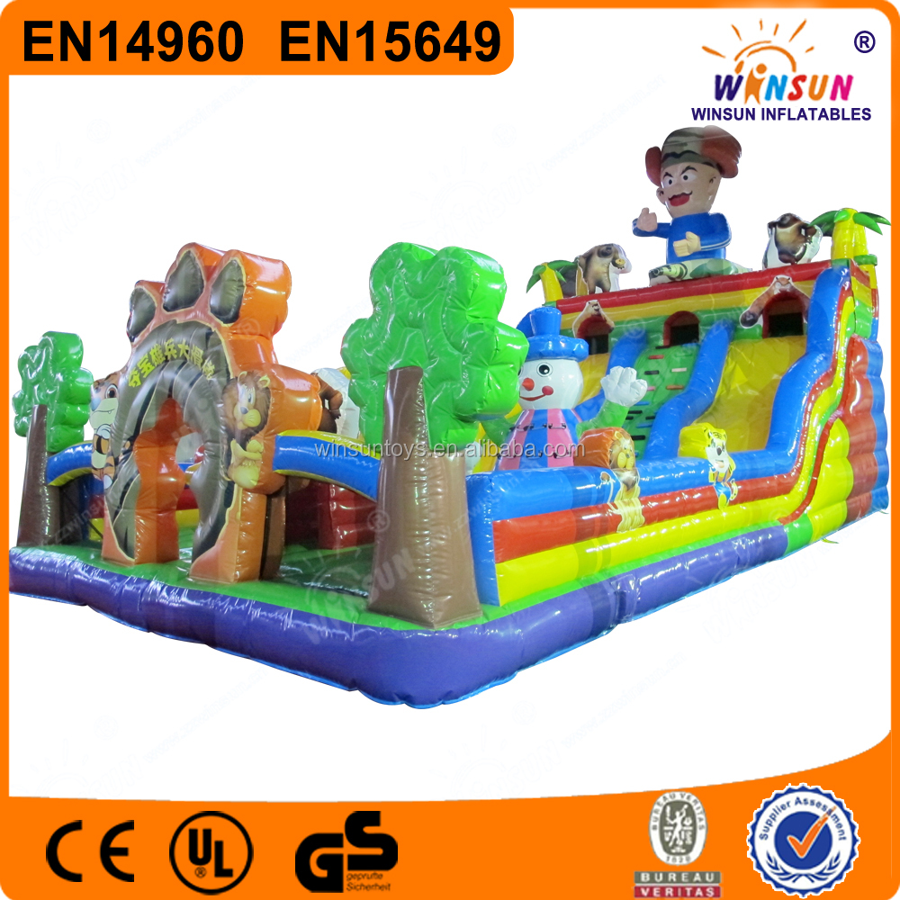 Inflatable Indiana Xiong Bing Super Slide With Cartoon And Obstacle
