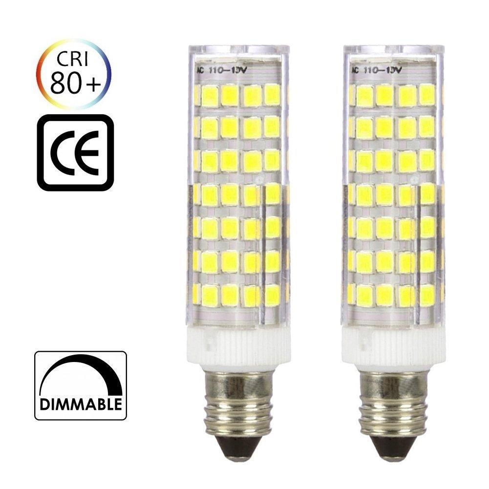 [2-pack] E11 led bulb Dimmable, 65W-75W Halogen Replacement Lights, Mini Candelabra Base, 6.5W AC110V/ 120V/ 130V, Daylight 6000K, NEW Listing (88pcs-2835-SMD LEDs)