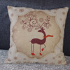 Simple design cotton linen christmas deer animal print outdoor handmade cushion cover A126