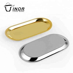 custom OEM oval mirrored polished serving tray with flat base