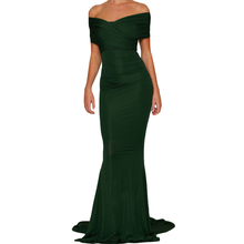 New Green Western Off-shoulder Long Night Mermaid Wedding Party Gown Evening Prom Dress