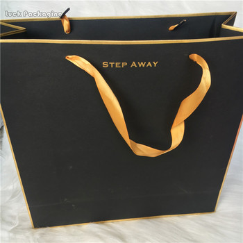 Gold Stamping Logo Luxury Glossy Black Paper Bags With Ribbon Handles Ping Bag Your Own Gift