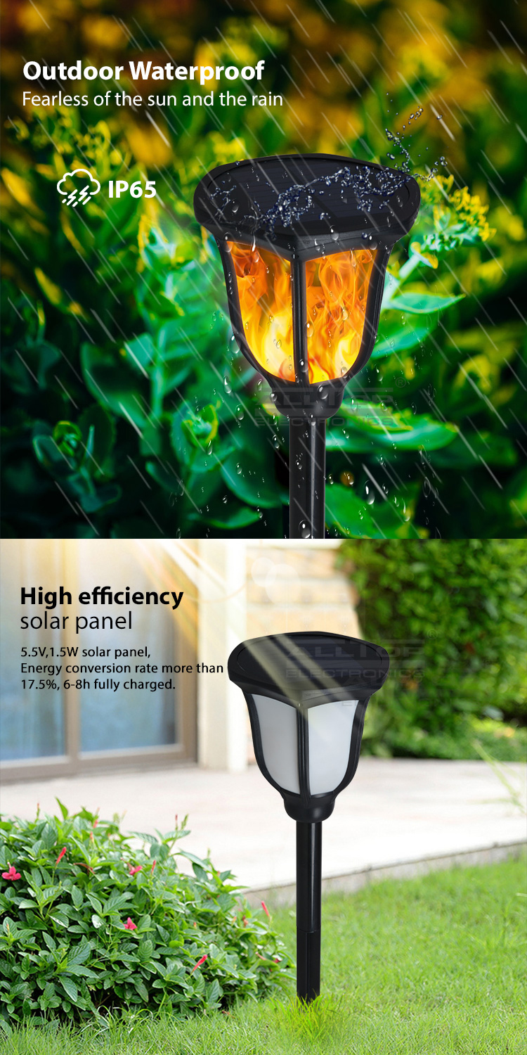 ALLTOP Outdoor LED Garden Lamp 2w Solar Powered Energy Torch Flame Light