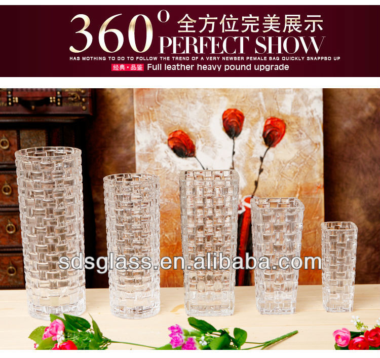 Chinese glass vases (18/24/29cm height)