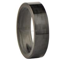 Polished shiny cabon fiber mens wedding ring