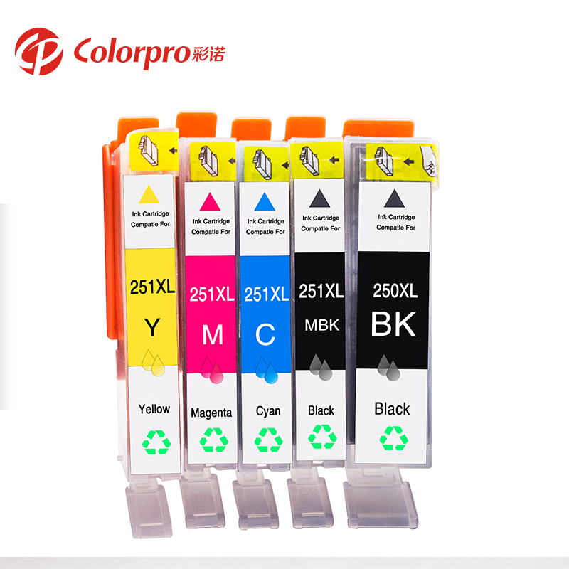 Wholesale Colorpro 250XL 251XL compatible ink cartridge for MG6320 MG6420 MG6620 printer 250 XL 251 XL