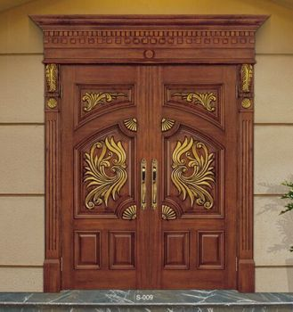 Wooden double door designs new design double leaf wood for New main door design