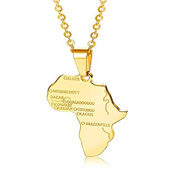 Olivia Hiphop Jewelry Custom Design Stainless Steel Country Map