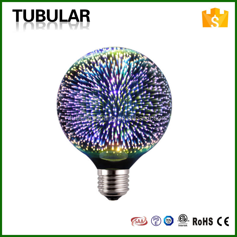 5W G80 G95 G125 ST64 Colorful Firework 3D LED Lamp for Decorative Lighting