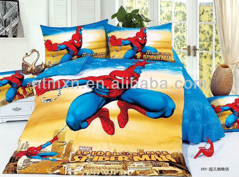 FASHION 2014 new hot spider man design cotton fabric twill printed twin size bedding sets for boys