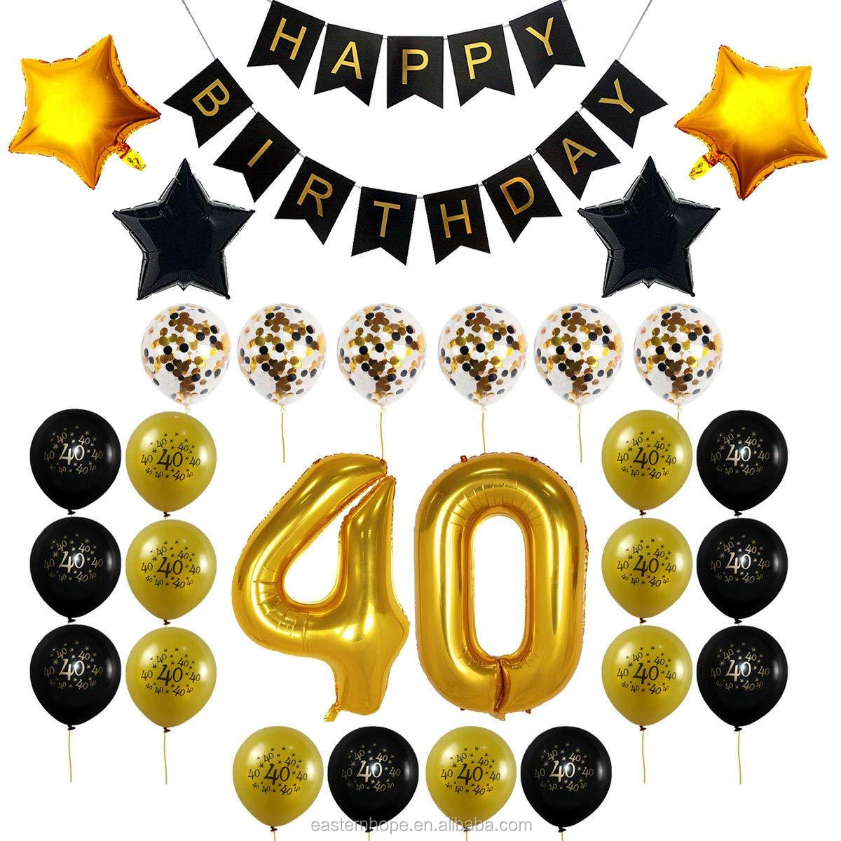 HAPPY 40TH BIRTHDAY BANNER BLACK AND GOLD PARTY BUNTING