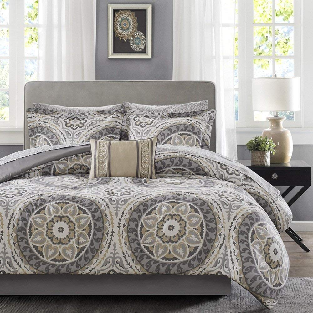 NA 9pc Light Grey Medallion Comforter King Set, Damask Flower Pattern Design, Taupe Tan Dark Gray, Floral Paisley Mandala Motif Themed, Bohemian Boho Chic Bedding