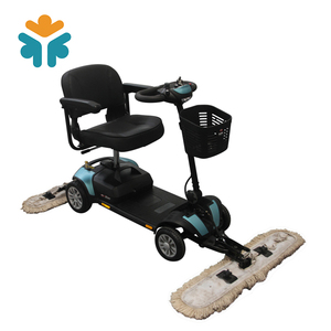 Electric Floor Cleaning Mobility Scooter with Pushing Driving Mop Dust Cart