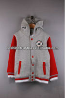 Embroidered red leather arms grey wool body childrens varsity jackets