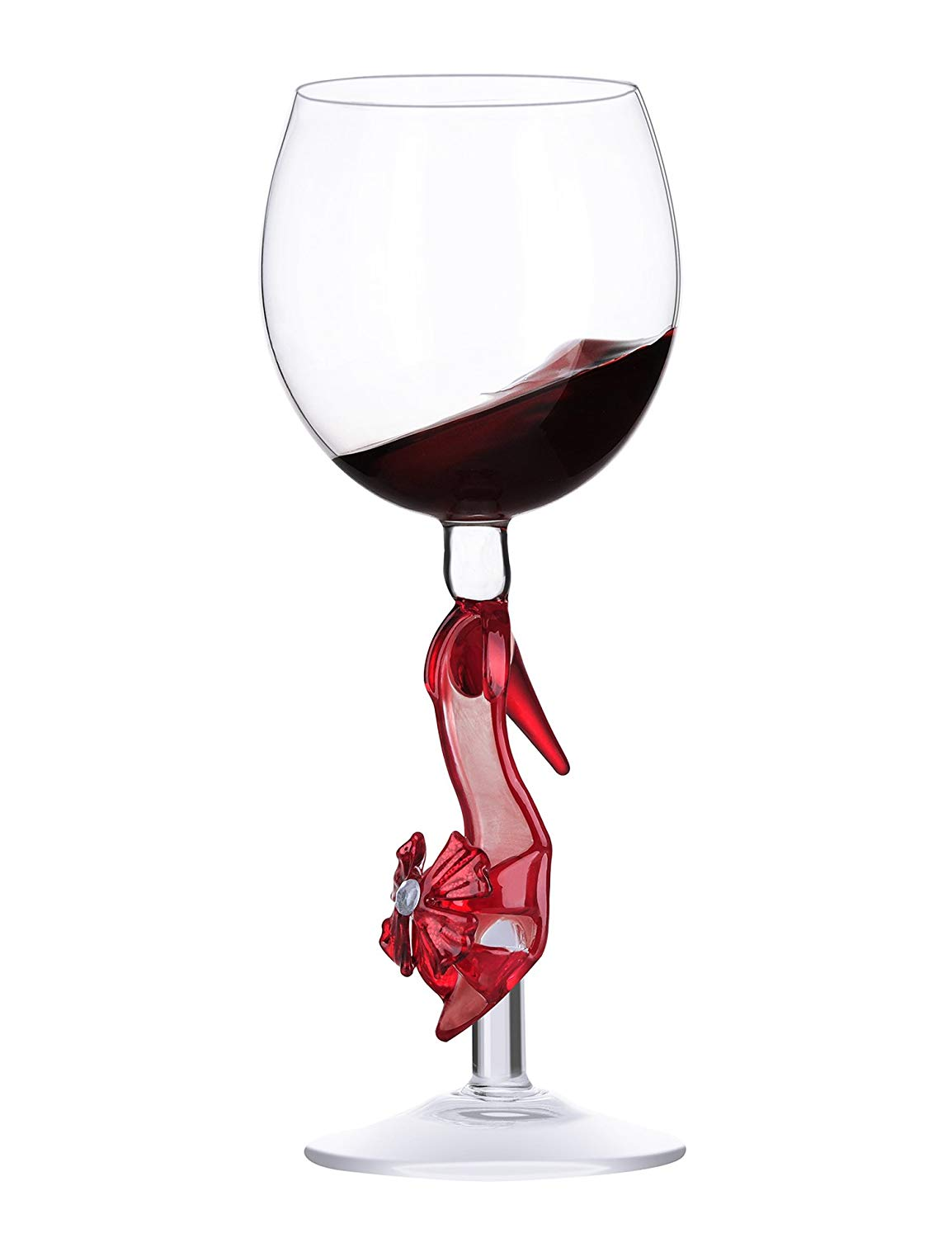 Lovinpro Hand-Crafted Balloon Wine Glass 13 ounce Handblown Glassware for Women, Wedding,Anniversary,Festival Best Gift For Wine Lovers (Red Heels)