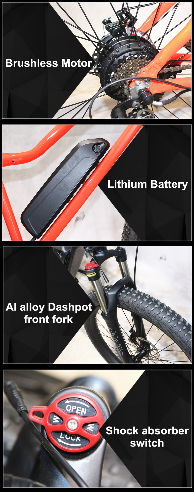 Gaea lithium battery electric bike mtb full suspension sports bicycle ebike mountain frame