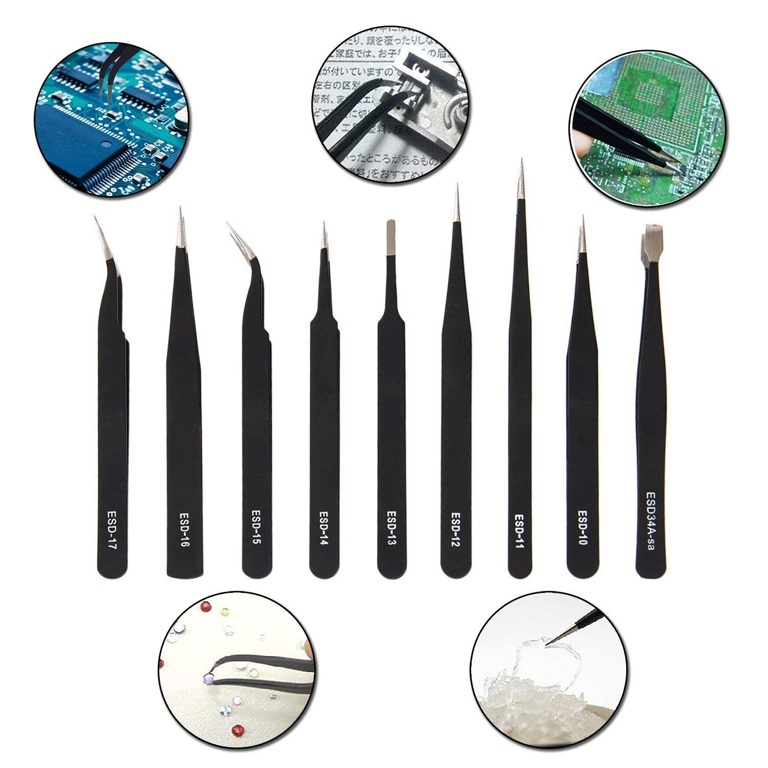 ESD Tweezers Tools Kit, 9 Pieces Precision Anti-Static Non-Magnetic Stainless Steel Tweezers with Storage Bag for Electronics, Jewelry-Making, Laboratory Work, Hobbies and Detailed Work