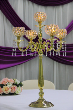 Handmade Crystal Decor Flower Stand For Wedding New Classical Post