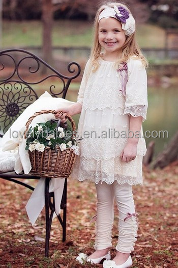 2015 Children's clothing sets kids layers ruffle ivory lace dresses with legging set