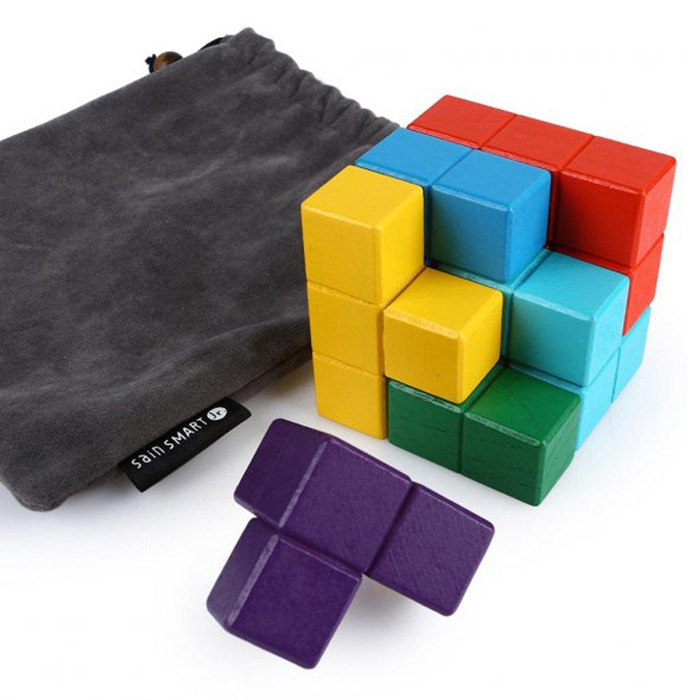 Get Quotations · SainSmart Jr. 7 Bricks Sparkle Color Soma Wood Tetris  Cube 438ab259d7697