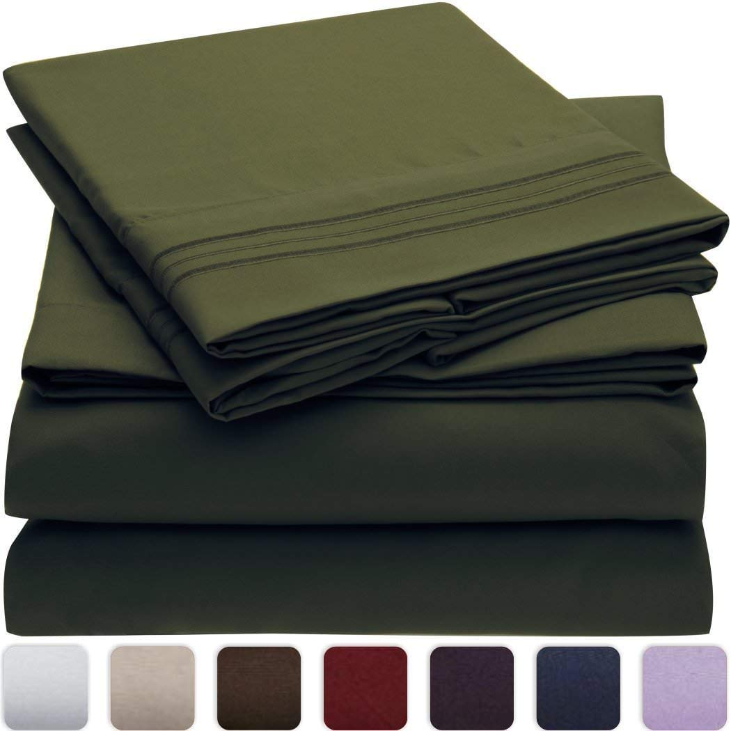 Bedding Kraft, Den 1000 TC 4 Piece Organic Cotton Bed Sheets, 20 Inches Deep Pockets, Luxurious & Comfortable, 100% Indian Organic Cotton Sheet, Olive/Pickle, Queen