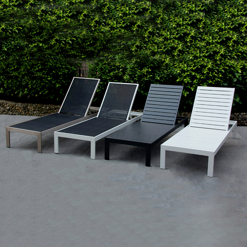 Foshan garden supplier used hotel poolside lounge plastic wood sun lounger outdoor furniture