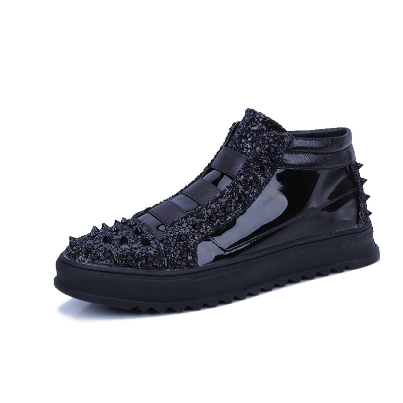 Shoes Mens Leather High Glitter Skateboard Cool Sequined Rivet Tops Sneakers Bling Studded 2018 Punk Shoes Rocky Wholesale BqYUp