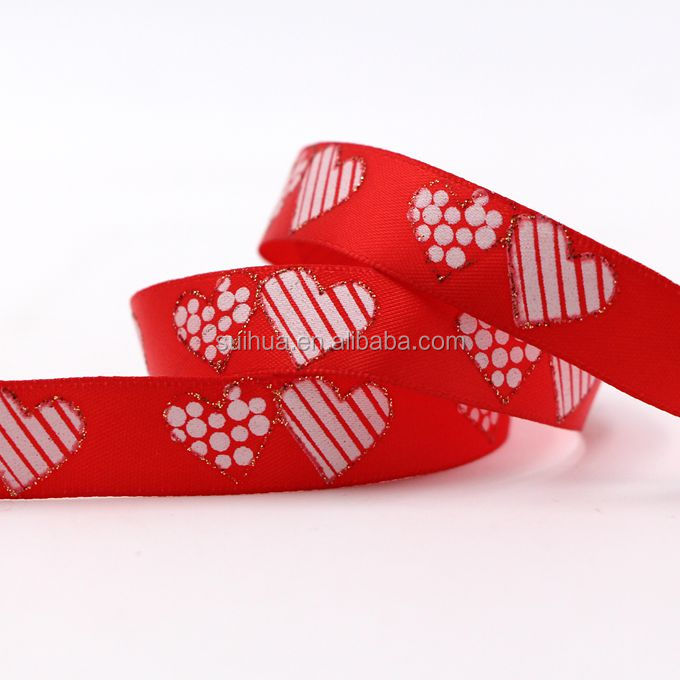Customized red heart printed satin ribbon for wedding gift packing