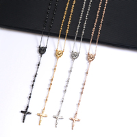 hotsale religious necklace stainless steel bead chain designs rosary necklace with jesus cross pendant