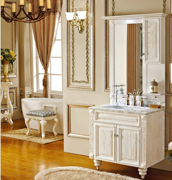 bathroom free standing vanities solid wood cabinet with mirror cabinet