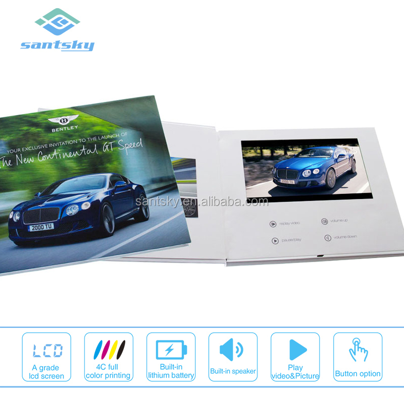 Luxury design 7 inch TFT lcd screen video brochure box in dubai with button