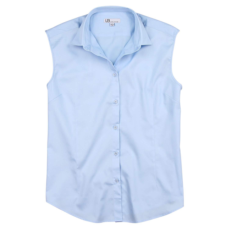 712ceb6b02d Get Quotations · Urban Boundaries Womens Basic Tailored Sleeveless Cotton  Button Down Shirt