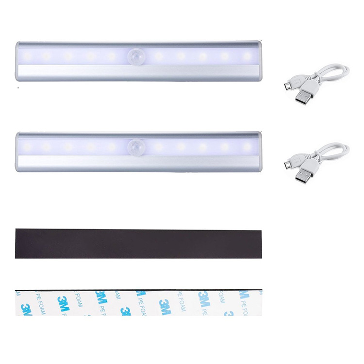 Hot Sale 10LED Wireless Rechargeable Portable Motion Sensor light for cabinet