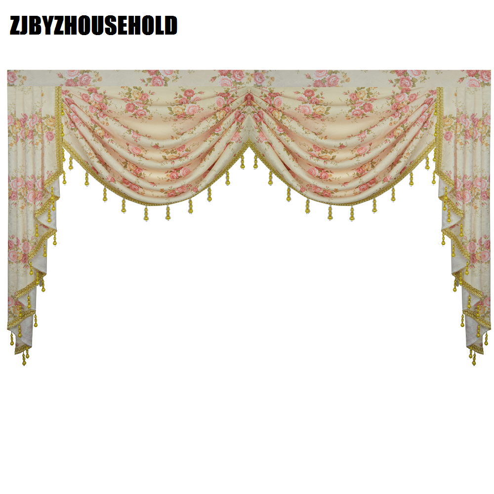 Pink Flower Pastoral Curtains For Living Room Valance Swag