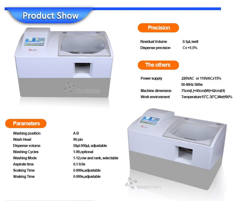 SK962 portable fully automatic lab elisa plate reader and washer