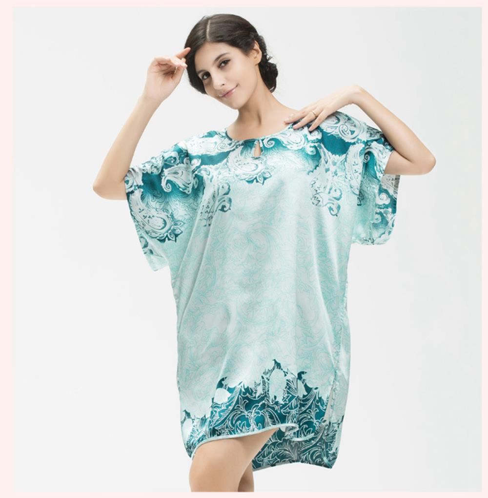 Buy Sleepwear Women Nightgowns Silk Short Sleeve Rayon Silk ...