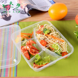 Square PP 4 divided disposable plastic lunch food tray