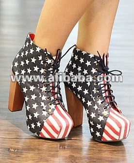 American flag British wood bottom ankle boots XD-YA999-5 deep cowboy blue