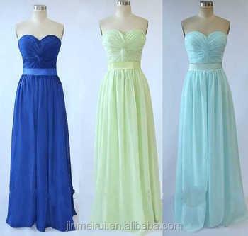 Bridesmaid Dress Under 100 Chiffon Royal Blue Mint Green Wedding Guest With Sash Maid Of Honor